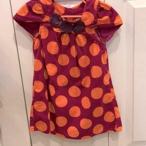 2T short sleeve corduroy polka dots